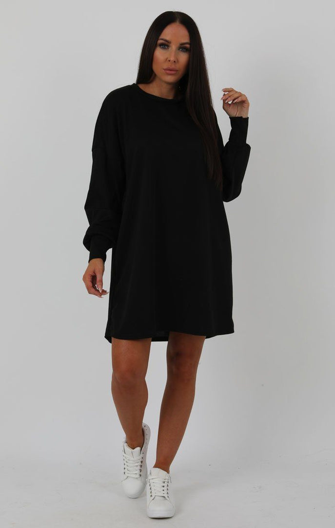 2ab1435caf5a Black Oversized Sweater Dress - Ola