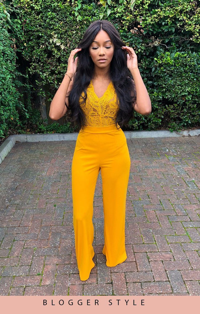 MUSTARD WIDE LEG TROUSERS