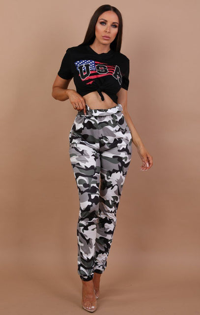 Black Usa Print Crop Top - Kendall