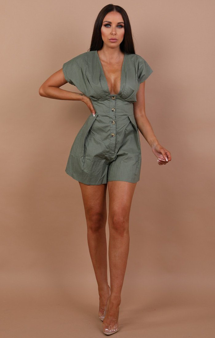 Khaki-cap-sleeve-button-up-playsuit-Danielle