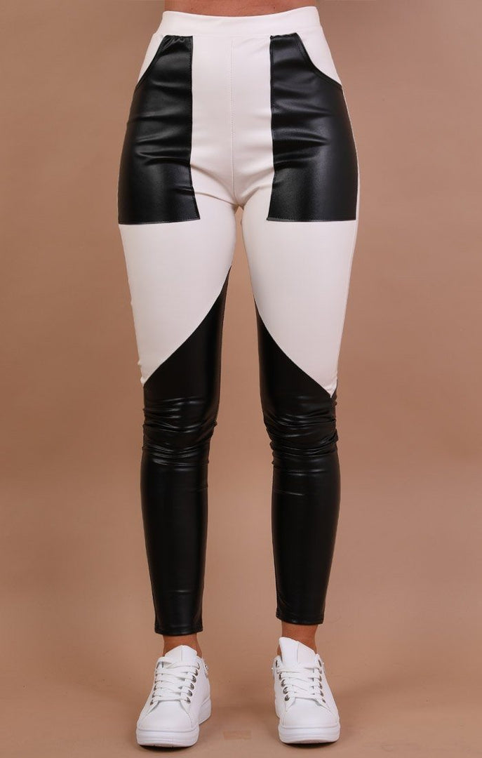 Black Contrast White Patch Pockets Faux Leather Trousers