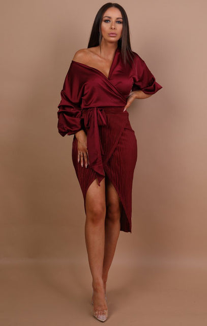 Wine Pleated Wrap Over High Waist Skirt - Mandy