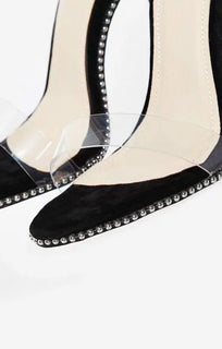 Studded Lace Up Perspex Heel In Black Faux Suede – Alarna