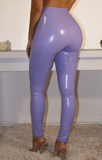 Lilac High Shine Vinyl PU Trousers