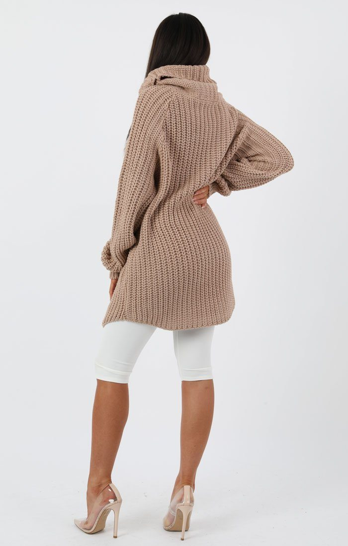 Stone Thick Knit Longline Jumper Dress - Talia
