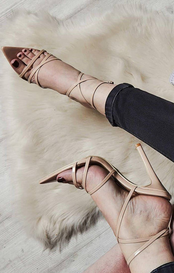 Beige Leather Strappy Point Heels - Sara