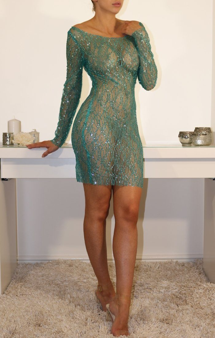 Blue Glitter Mesh Bodycon Mini Dress