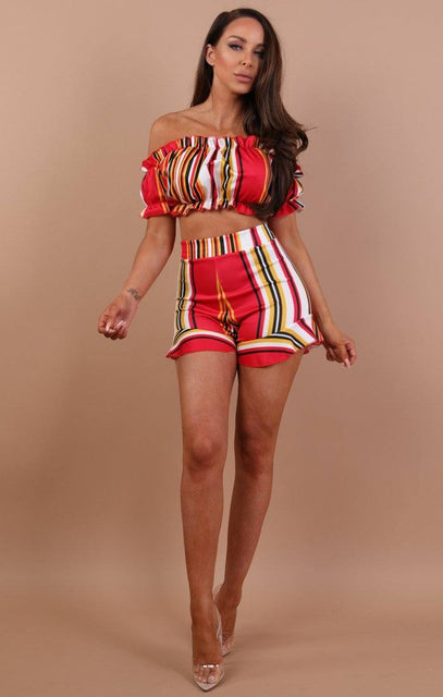 Red Striped Two Piece Co-ord Set - Stacey