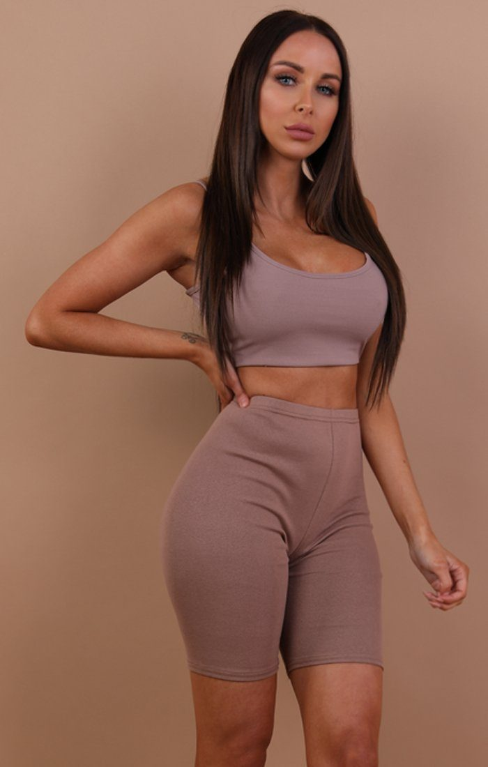 Mocha Cropped Basic Leggings - Roxanne