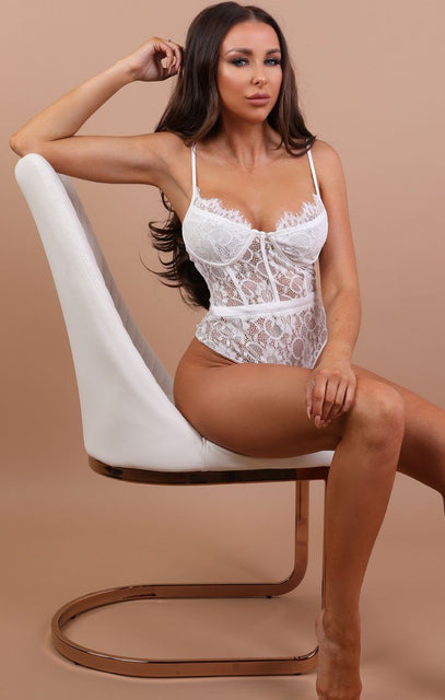 White Floral Lace Sectioned Bodysuit - Maria