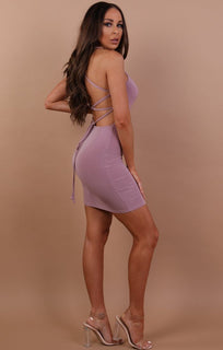 Lilac Slinky Lace Up Bodycon Dress - Courtney