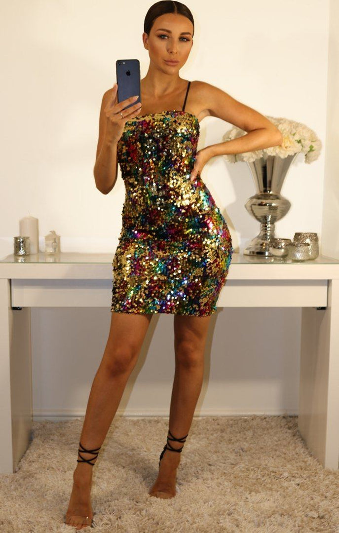 Black Mulitcoloured Sequin Dress