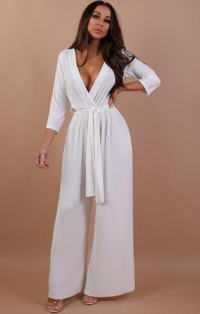 White Pleated Wide Leg Jumpsuit - Abigail