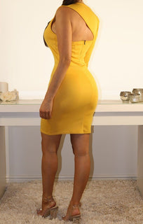 Mustard One Sleeve Cut Out Bodycon Dress