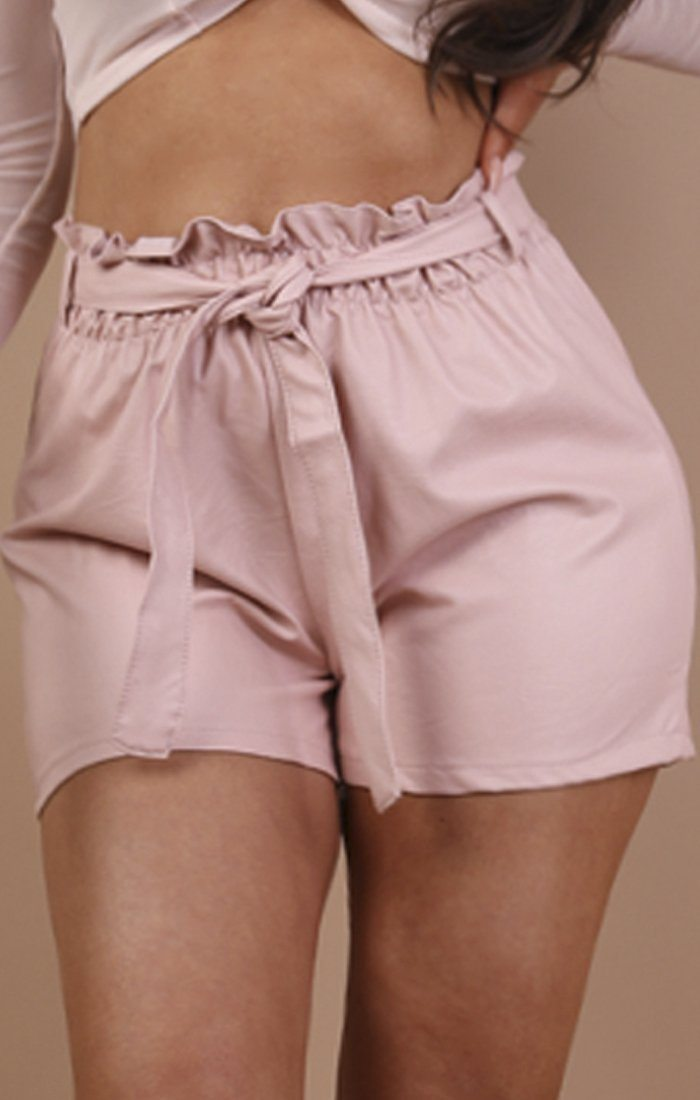 Pink Paperbag Faux Leather Shorts - Ferne