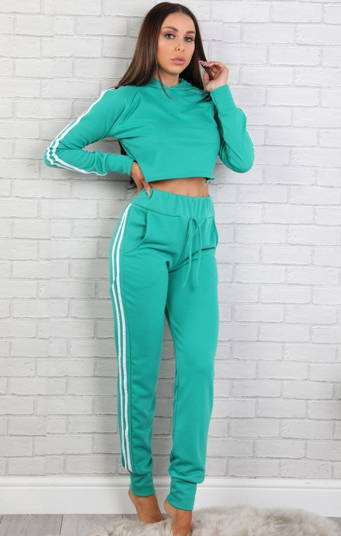 Green With White Side Stripes Lounge Wear Set - Libbie
