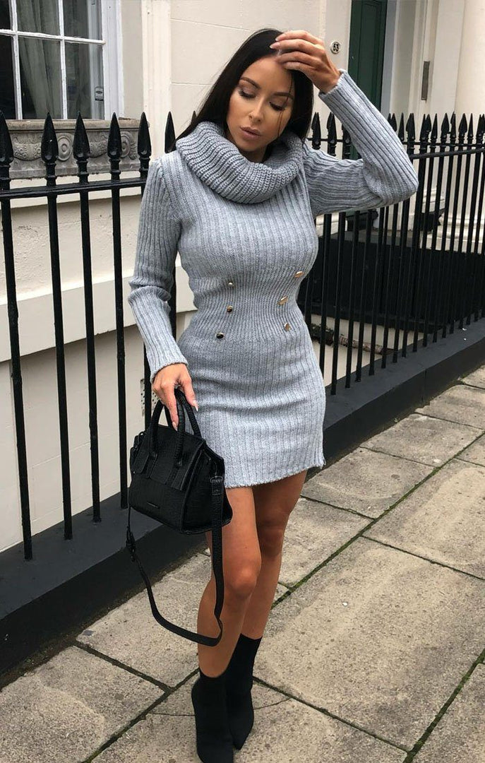 Grey Extreme Turtle Neck Knit Bodycon Dress - Amalie