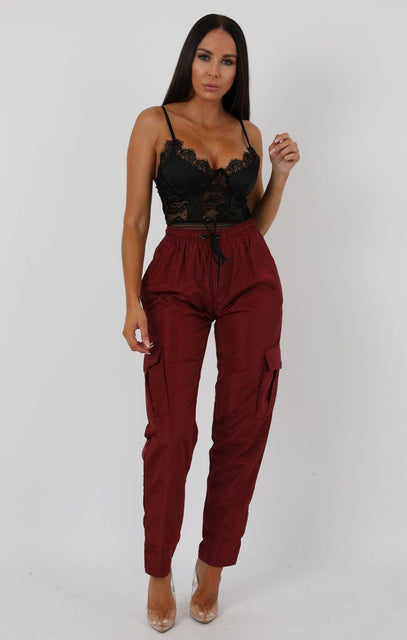 Wine Shell Pocket Cargo Trousers - Christina