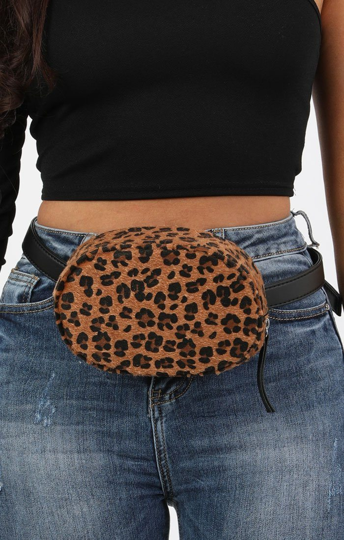 Brown Oval Faux Fur Animal Leopard Print Belt Bag - Katelyn