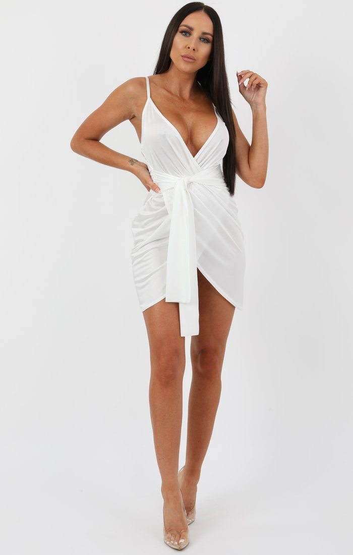 White Front Tie Drape Mini Dress - Lilya
