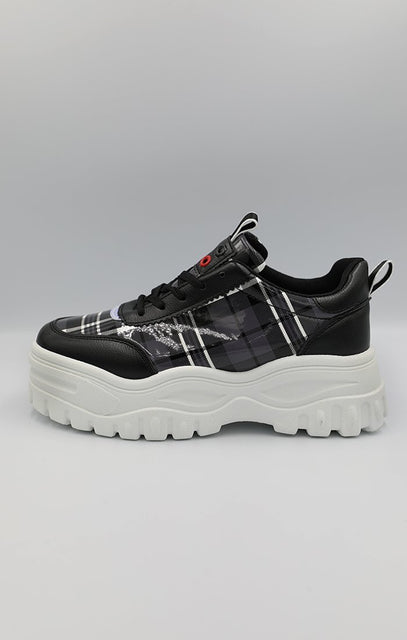 Black check Print Chunky Trainer - Jessi