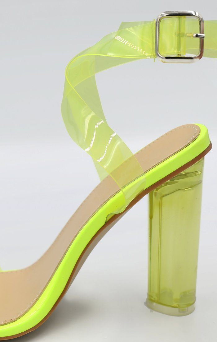 Yellow Perspex Barely There Heels - Cloe