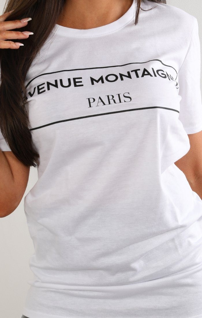 White Avenue Montaigne Slogan T-shirt