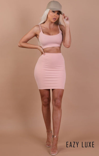 Nude Bodycon Mini High Waist Skirt - Mimi