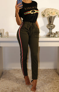 Khaki High Waist Striped Trousers