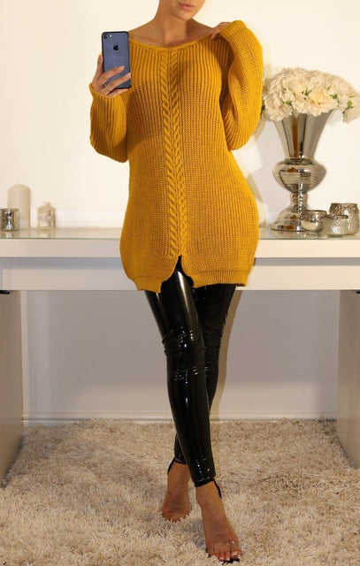 Mustard Long Cable Knitted Jumper