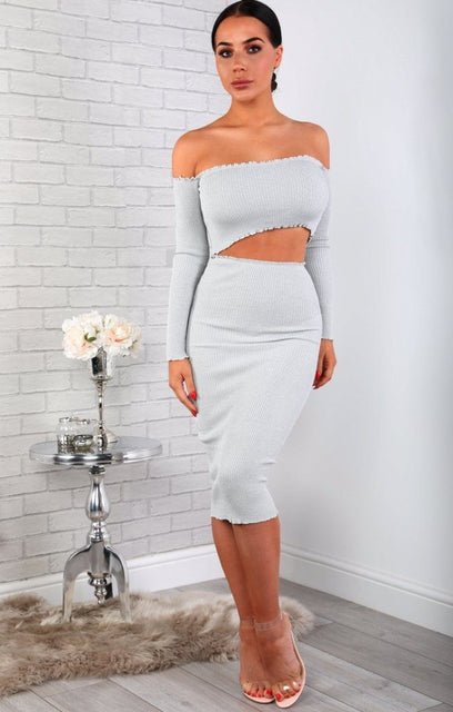 Grey Sparkle Ribbed Bodycon Midi High Waist Skirt