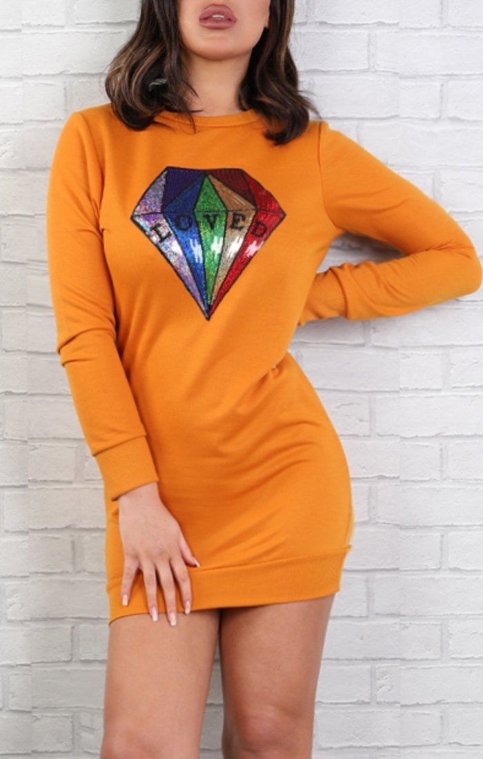 Rust Sequin Diamond Jumper Dress - Jasmine