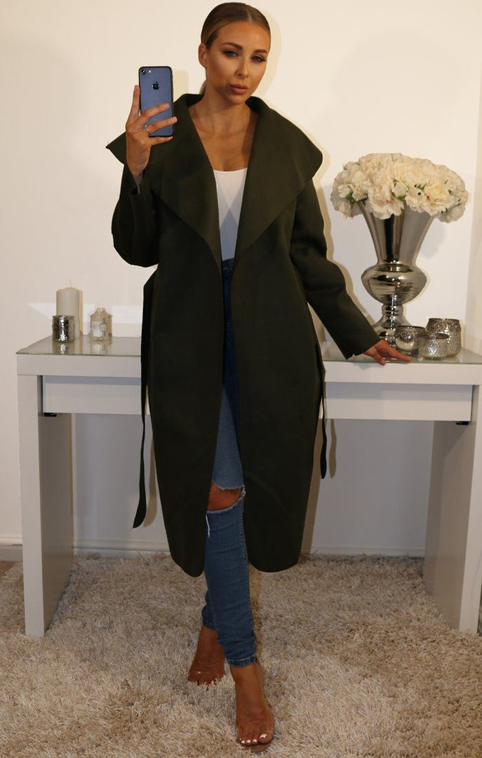 Khaki Waterfall Duster Belted Long Coat