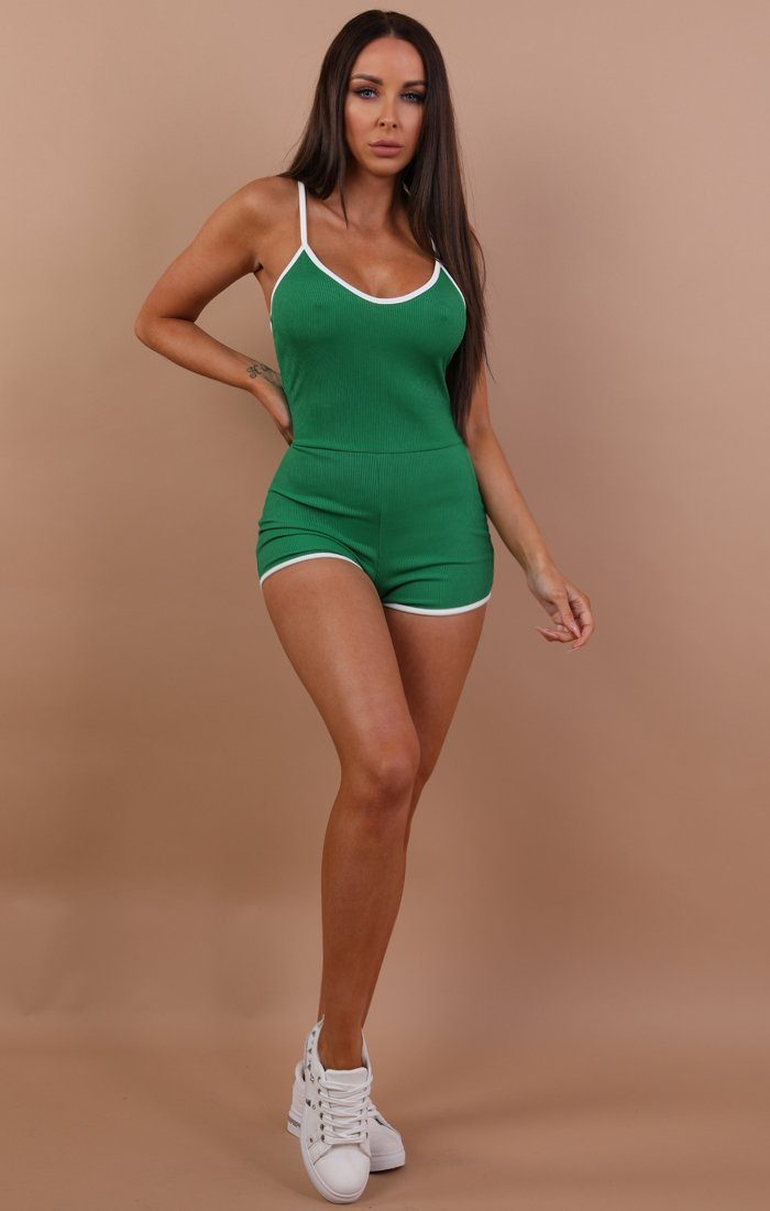 Green Ribbed Contrast Trim Playsuit - Jayda