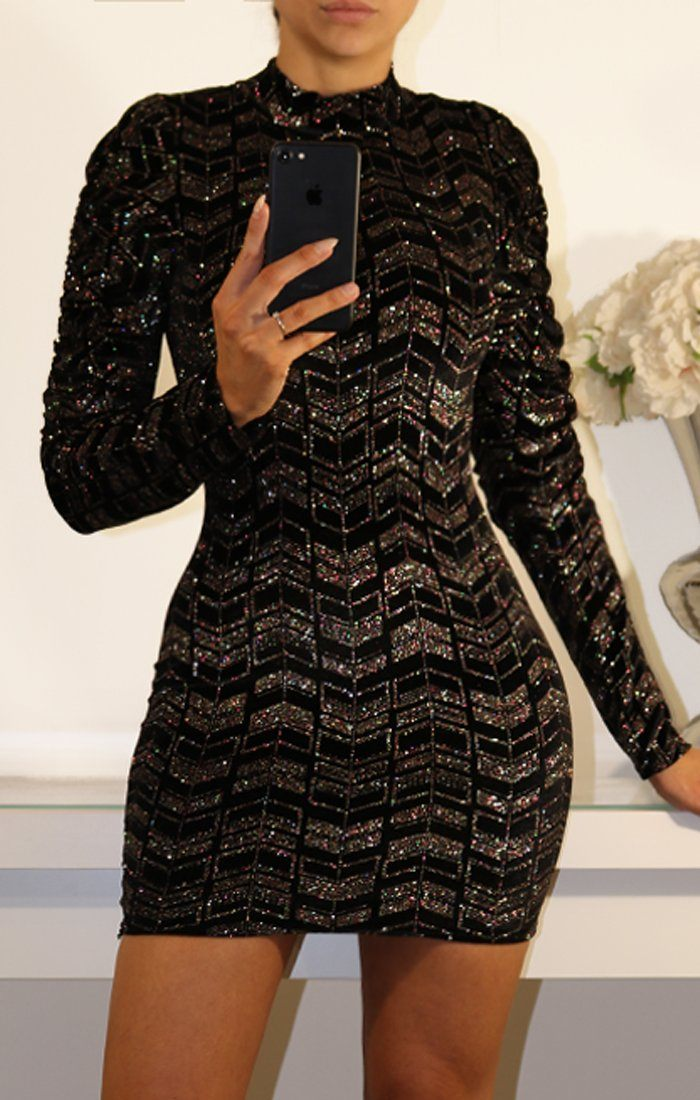 Black Long Sleeve Glitter Mini Dress