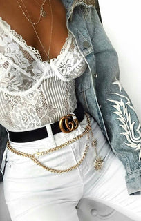 White Floral Lace Bodysuit