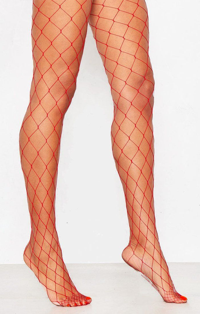 Red Diamond Fishnet Tights