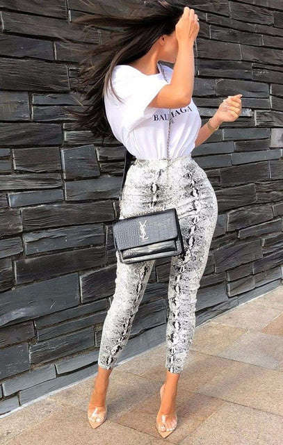 White Animal Snake Print PU Leggings - Stevi