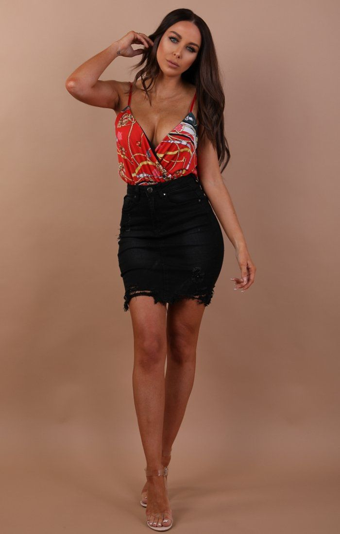 Black Denim Mini High Waist Skirt - Ruby