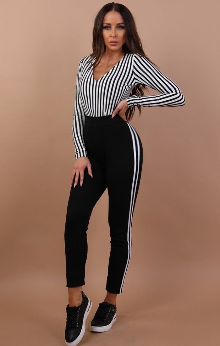 White Stripe Long Sleeve Bodysuit – Taylor