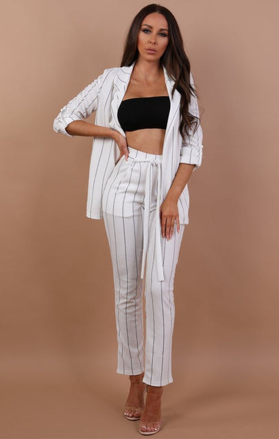 White Belted Trouser With Black Stripes - Dani