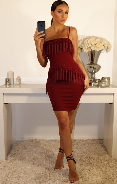 Wine Tassel Detail Bodycon Dress