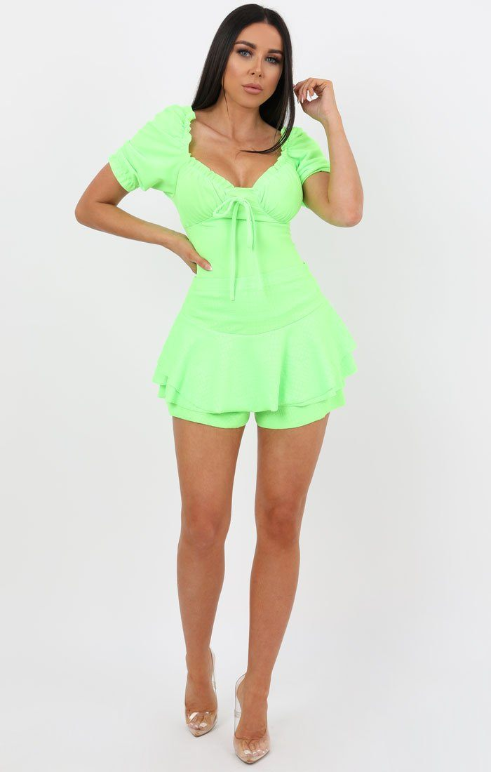 Neon Lime Frill Top - Julietta