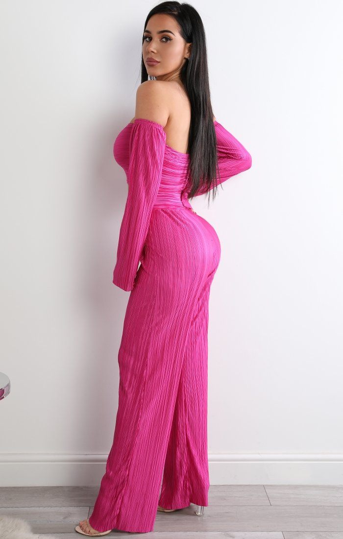 Pink Pleated Two Piece Co-ord Set