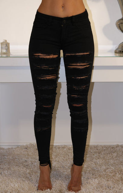 Black Distressed Stretch Denim Jeans
