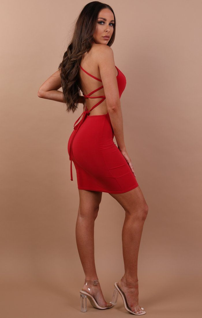 Red Slinky Lace Up Bodycon Dress - Courtney