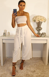 White Cropped Two Piece Set
