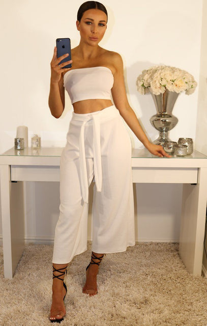 White Cropped Two Piece Co-ord Set
