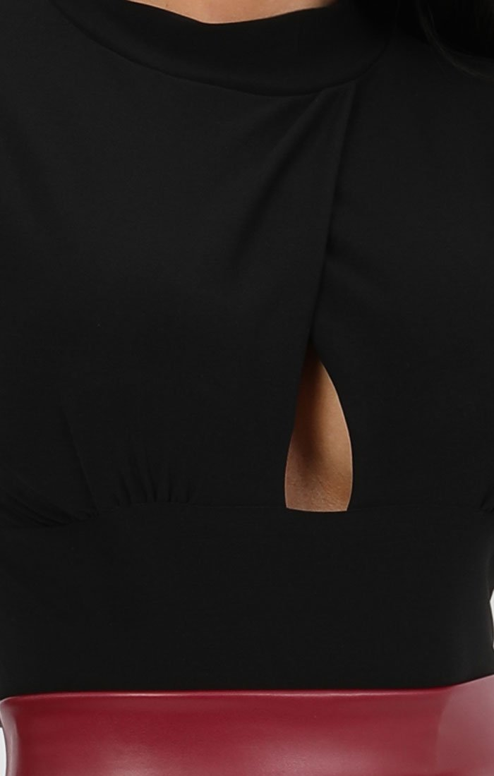 Black Long Sleeve Cut Out Bodysuit - Kia