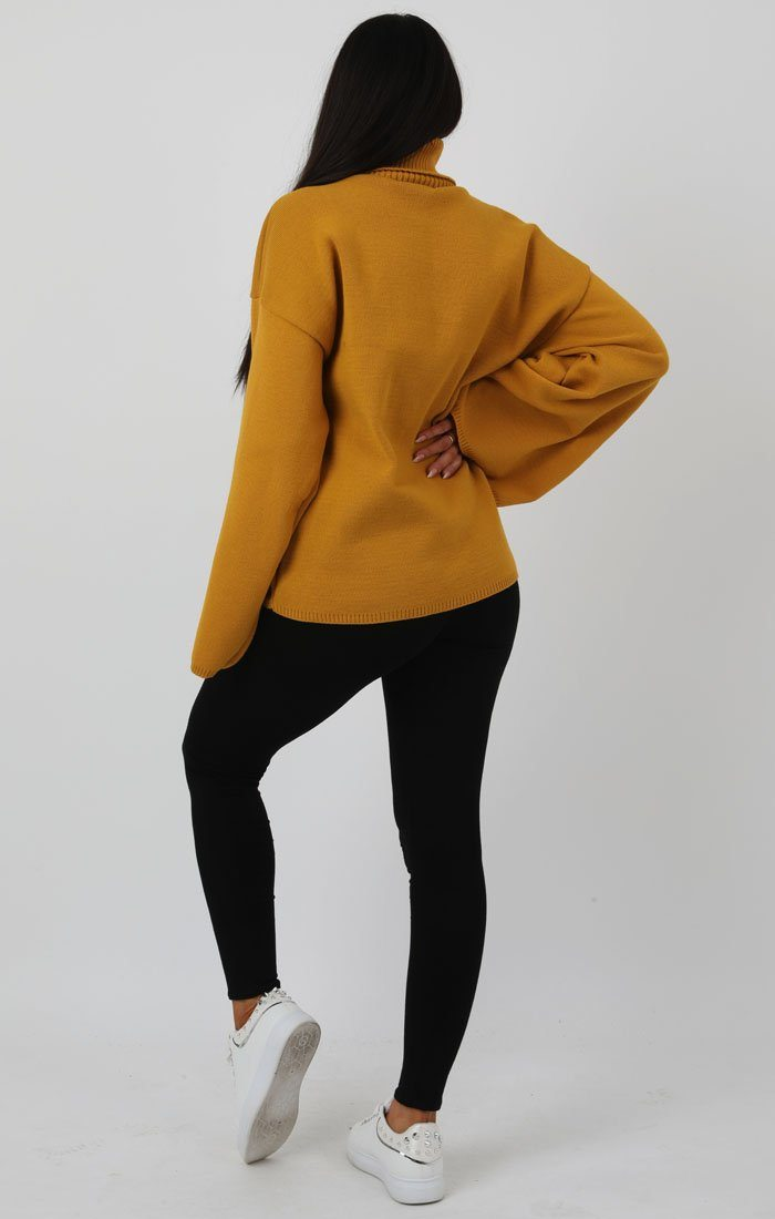 Mustard Extreme Polo Neck Oversized Jumper - Amber